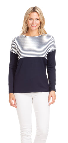 Heather Top in Navy Seersucker