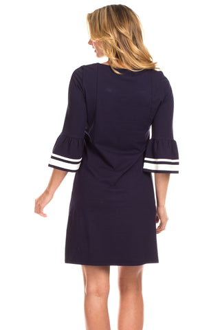 Ruthbury Dress in Navy with Ivory