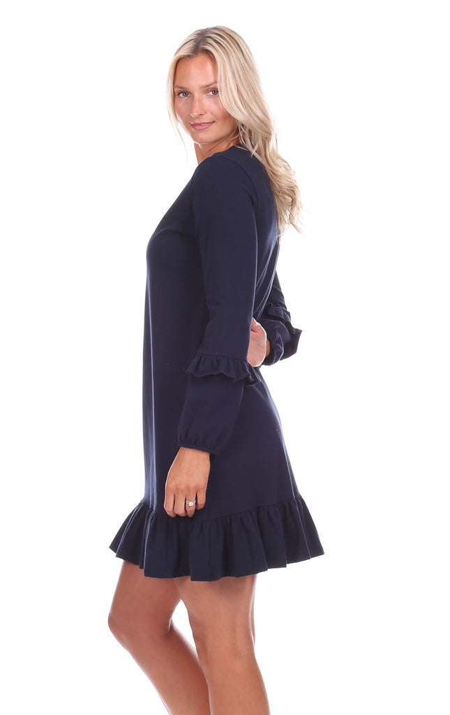 Daria Double Ruffle Dress in Solid Navy