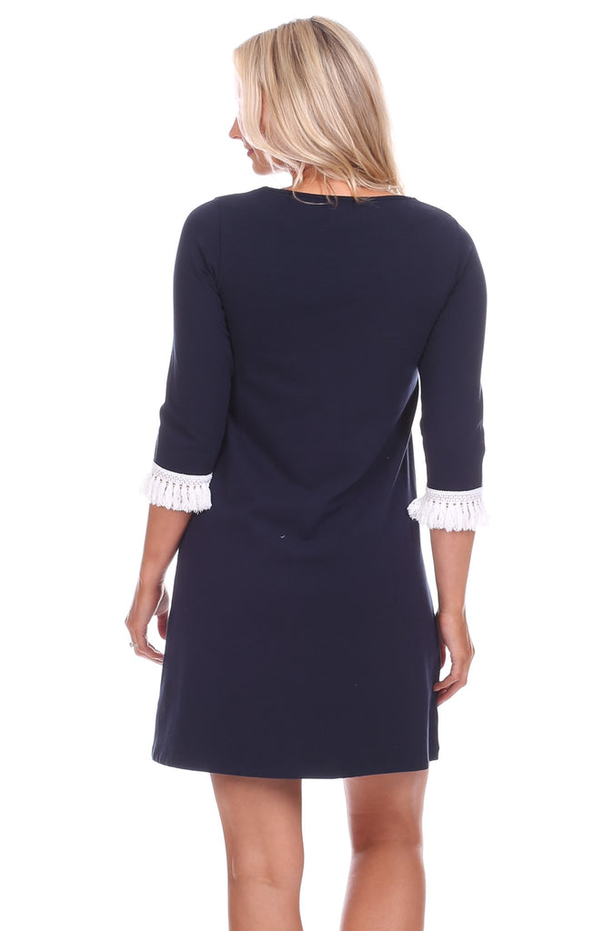Everly Dress in Solid Navy
