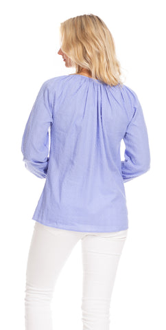 Useppa Tunic in Periwinkle Swiss Dot