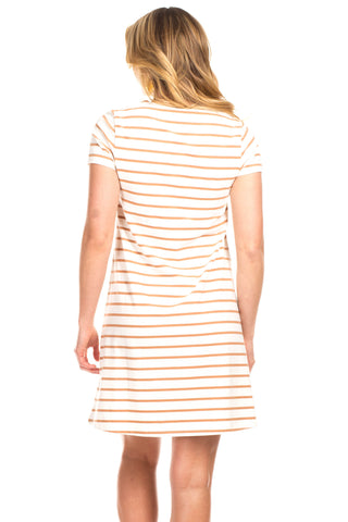 Amber Dress in Ivory with Camel Stripes