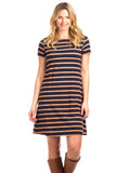 Amber Dress in Navy with Camel Stripes