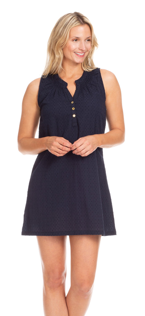 Reef Dress in Navy Swiss Dot