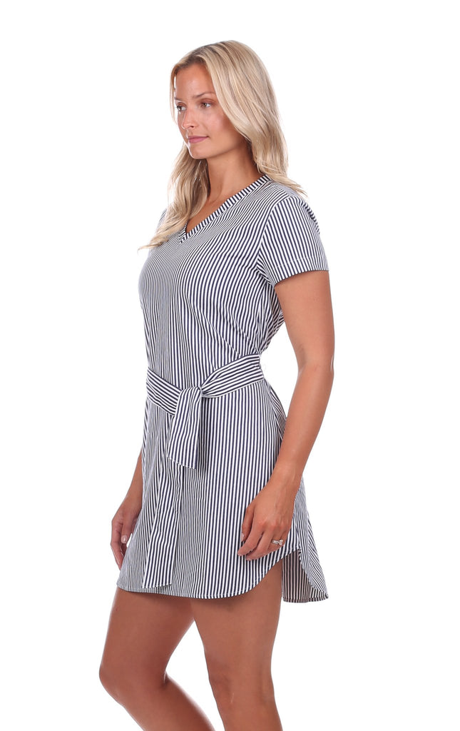 Anastasia Dress in Navy & White Stripe