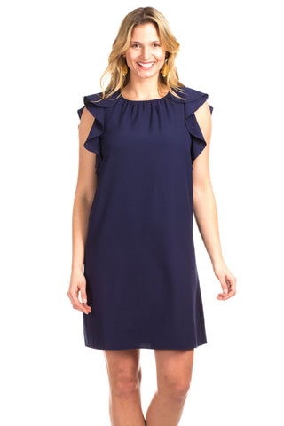 Sinclair Shift Dress in Navy with White Lace Detail