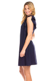 Raliegh Ruffle Dress in Navy
