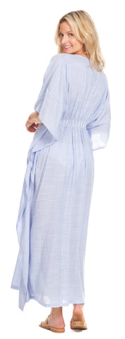 Delray Caftan in Blue Stripe