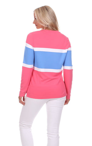 Cynthia Colorblock Pullover in Strawberry, White & Hydrangea