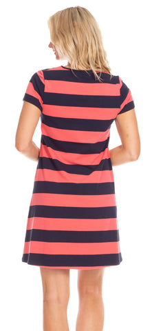 Addie Dress in Coral & Navy Stripe