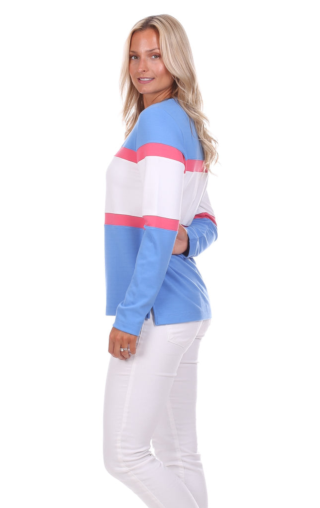 Cynthia Colorblock Pullover in Hydrangea, Strawberry & White