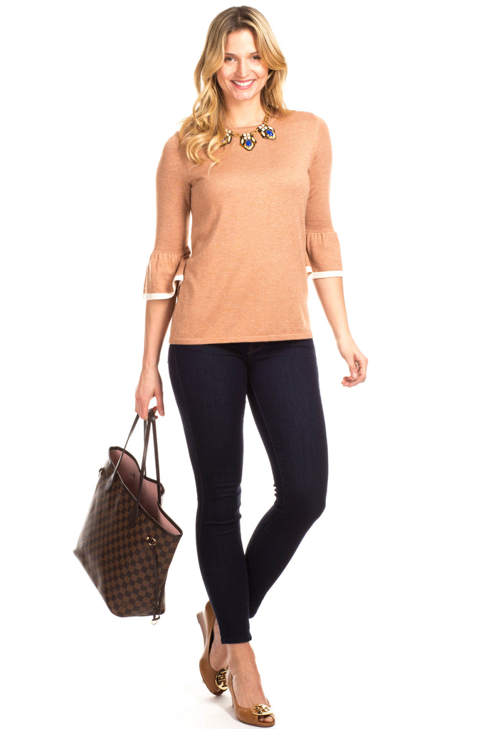 Remmy Ruffle Sweater in Camel