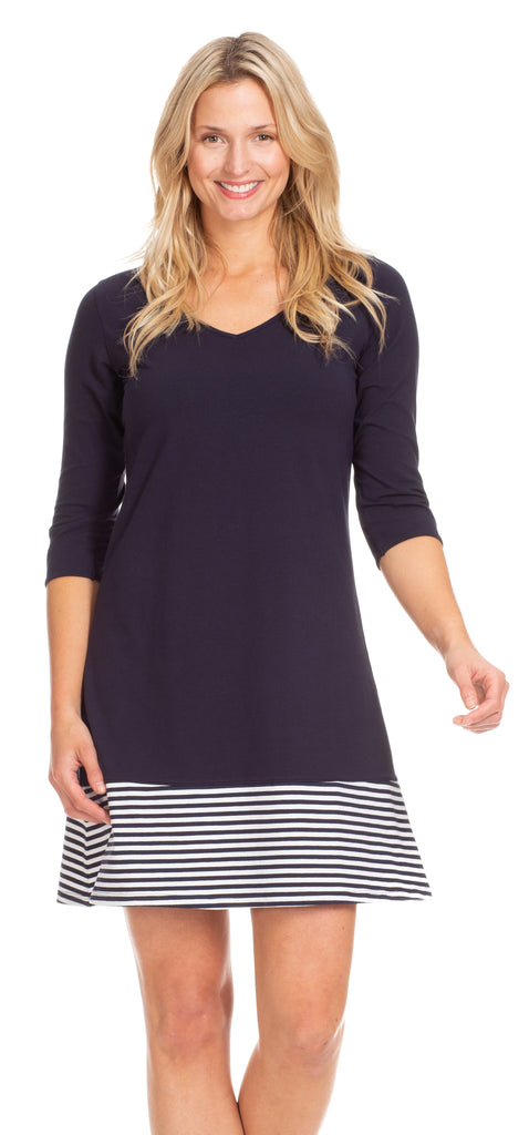 Powell Dress in Navy with White Stripe