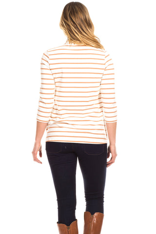 Kimball Top in Ivory with Camel Stripe