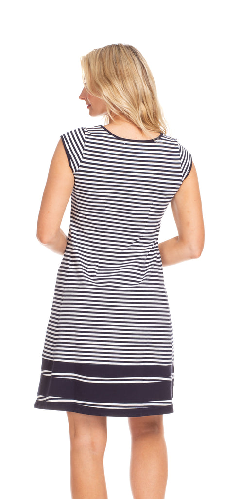 Hailey Dress in Navy & White Stripe