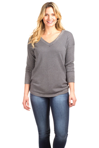 Leighton Cashmere Blend Sweater in Navy with Ivory Stripes
