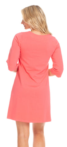 Sabrina Scallop Dress in Coral