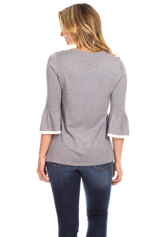 Remmy Ruffle Sweater in Grey