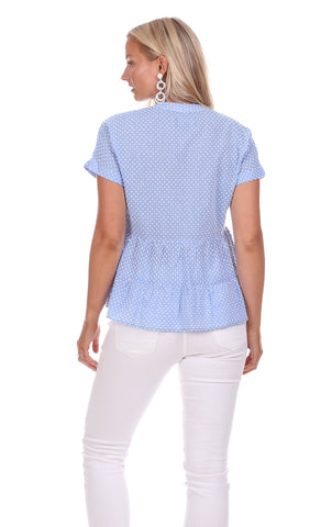 Tobago Top in Blue Textured Dot