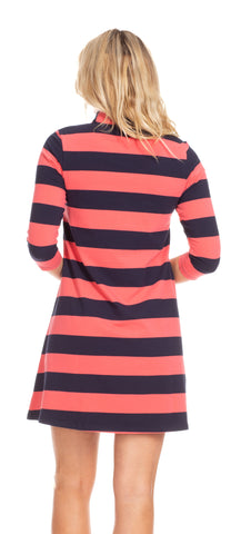 Kingsley Dress in Coral & Navy Stripe