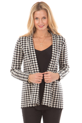 Polly Pullover in Black with Houndstooth