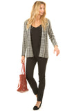 Ada Cashmere Blend Sweater Jacket in Houndstooth