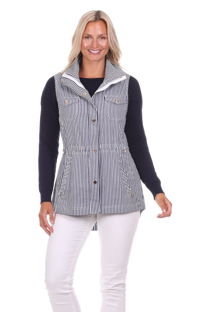Sumner Vest in Navy & White Stripe