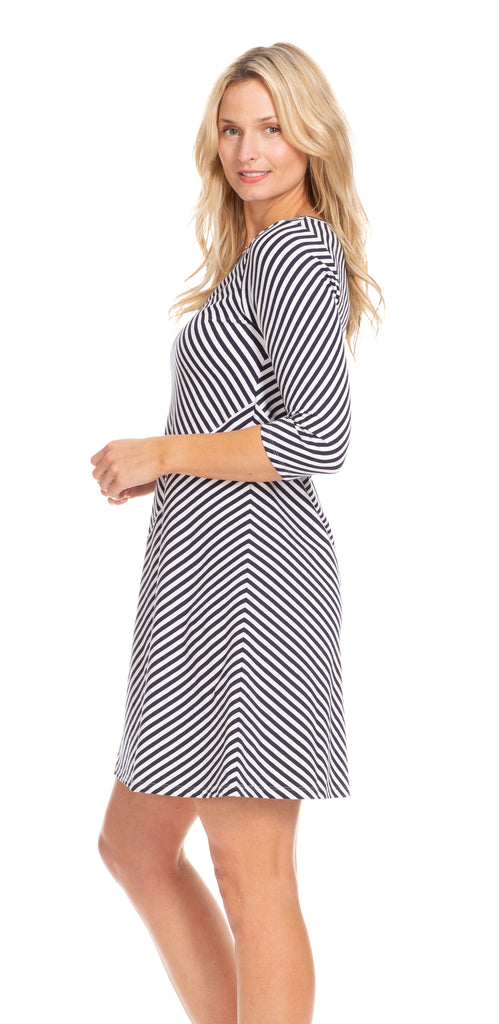 Chase Dress in Navy & White Stripe