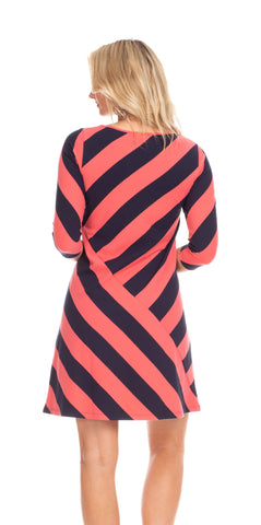 Chase Dress in Coral & Navy Stripe