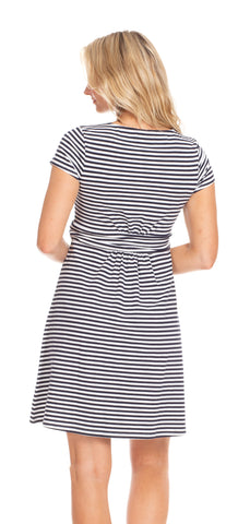 Eliza Dress in Navy & White Stripe
