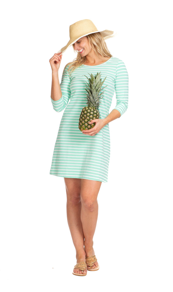 Tustin Tie Back Dress in Aqua Stripe