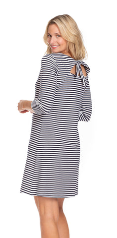 Tustin Tie Back Dress in Navy & White Stripe