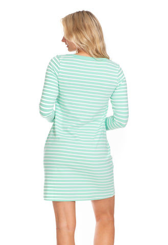 Sophie Dress in Aqua Stripe
