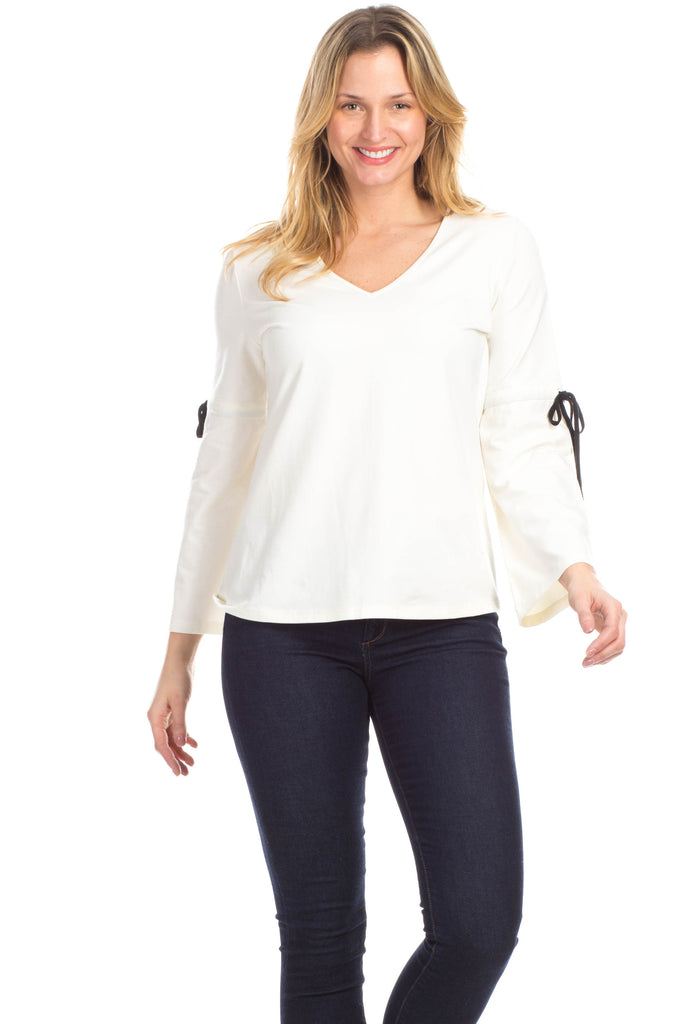Townsend Tie Top in Ivory