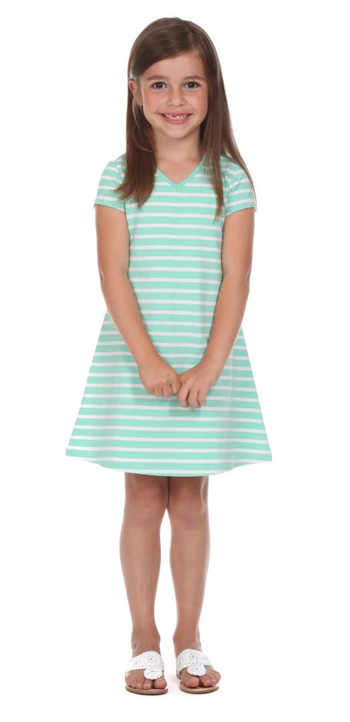 Girls Addie Dress in Aqua Stripe