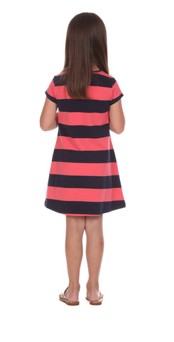 Girls Addie Dress in Coral & Navy Stripe