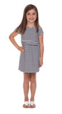 Girls Eliza Dress in Navy & White Stripe