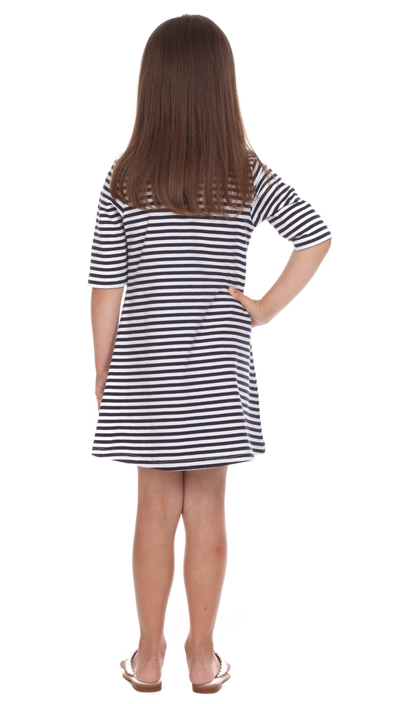 Girls Spring Lake Dress in Navy & White Stripe with Coral