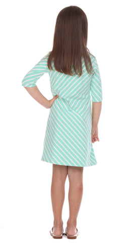 Girls Chase Dress in Aqua Stripe