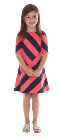Girls Mila Dress in Lavender Stripe