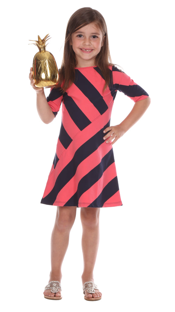 Girls Chase Dress in Coral & Navy Stripe