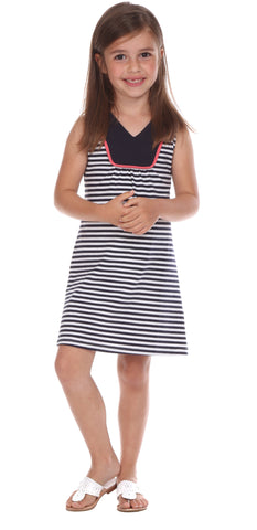 Girls Mackinac Dress in Sailboat with Navy