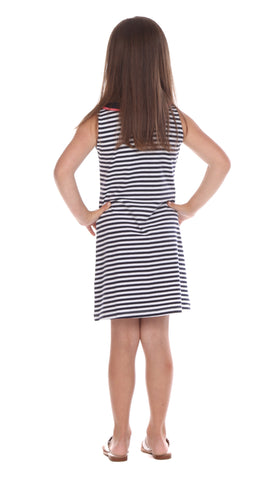 Girls Eve Dress in Navy & White Stripe
