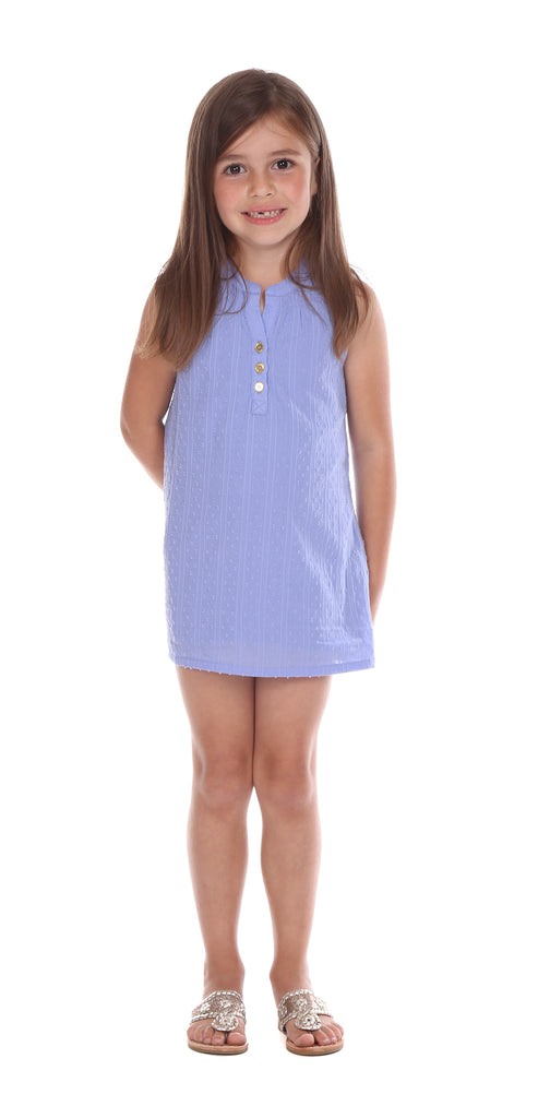Girls Reef Dress in Periwinkle Swiss Dot