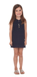 Girls Reef Dress in Navy Swiss Dot