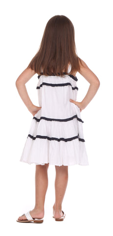 Girls Alice Dress in White Swiss Dot