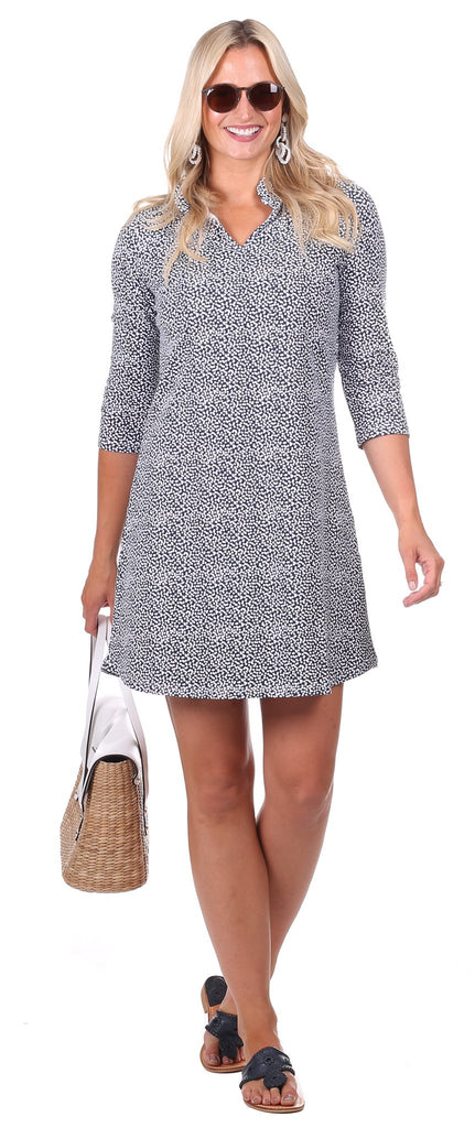 Lillian Dress in Navy Scatter Dot