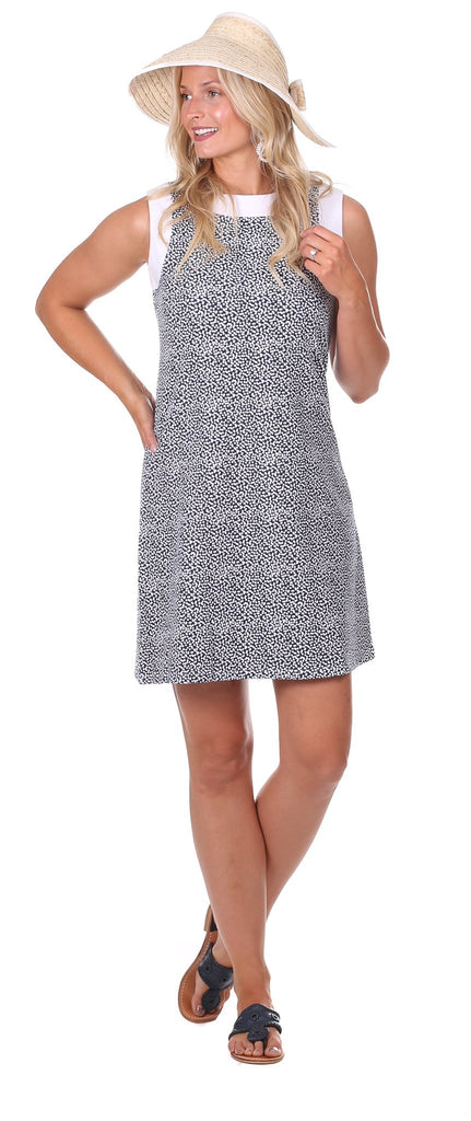 Hattie Dress in Navy Scatter Dot