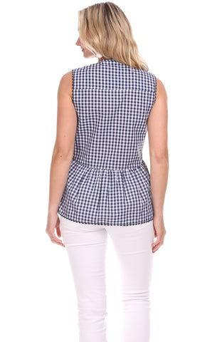 Alexa Top in Navy Gingham