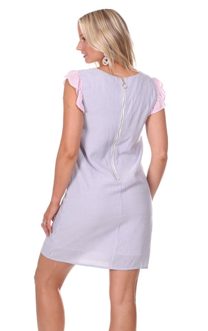Julie Dress in Lavender Stripe with Pink Stripe